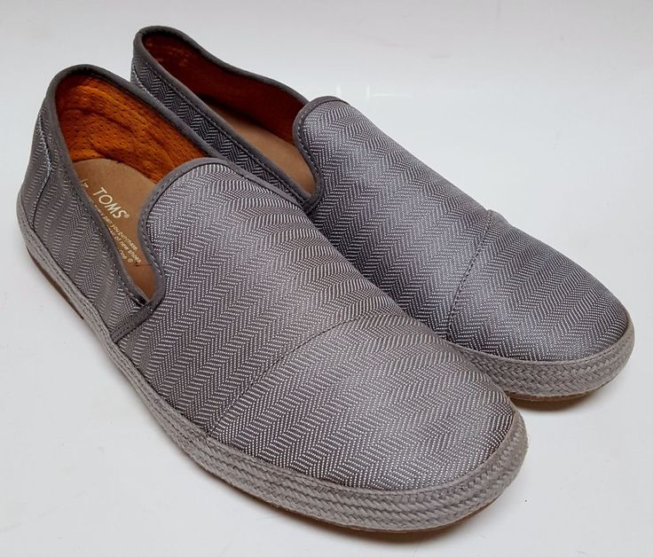 Mens Toms Grey Canvas Avalon Slip-On Loafers Shoes Size 13 M #Toms #LoafersSlipOns