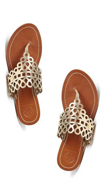 Pretty gold Tory Burch sandals for summer
