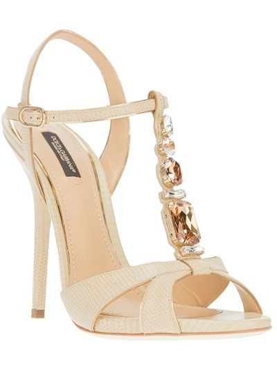 Dolce & Gabbana - embellished t-bar sandal..Nude lizard skin effect