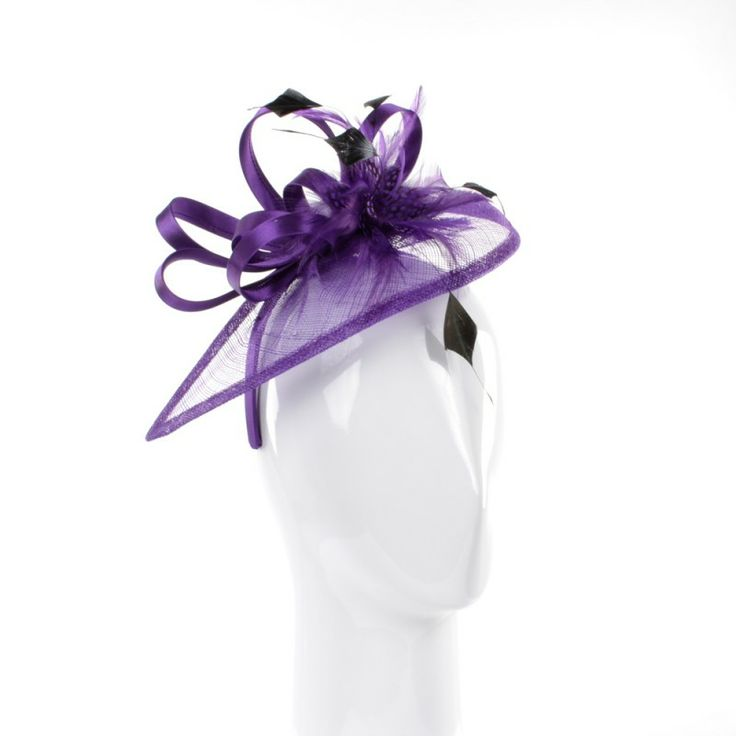 Purple Fascinator with Loop and Feather Detailing