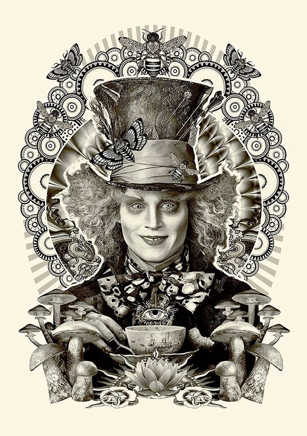 "Estampa do Chapeleiro Maluco (Johnny Depp), personagem confuso e bem maluquete do filme adaptado por Tim Burton, do original ""Alice no País das Maravilhas"" de Lewis Carrol."