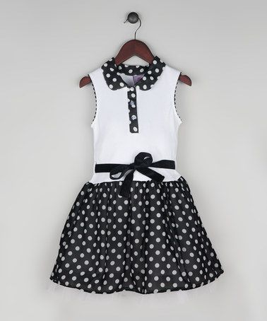 Look what I found on #zulily! Black & White Polka Dot Drop-Waist Dress - Toddler & Girls #zulilyfinds