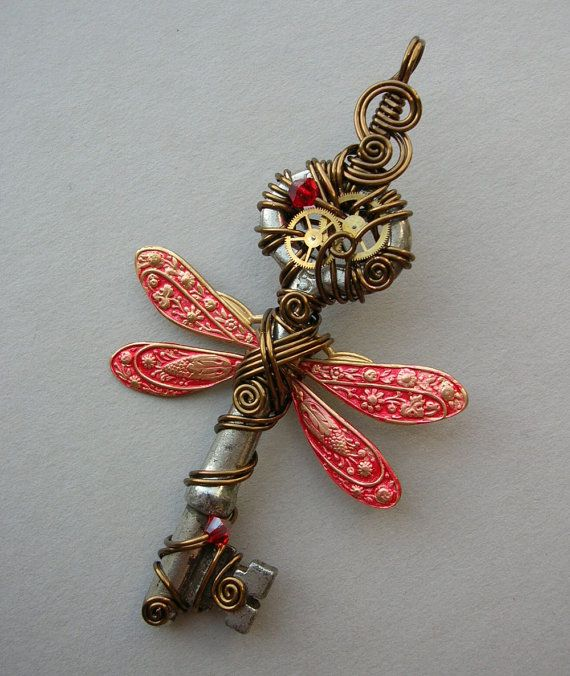 Red Dragonfly Winged Clockwork Key Pendant (A key to time)