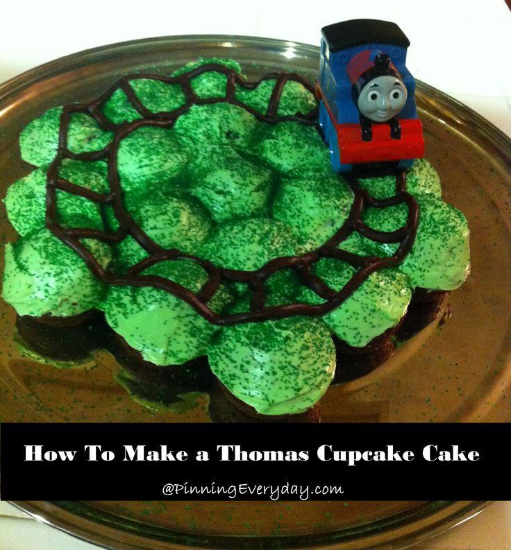 cupcakes cakes | How To Make A Thomas Cupcake Cake - Pinning Everyday