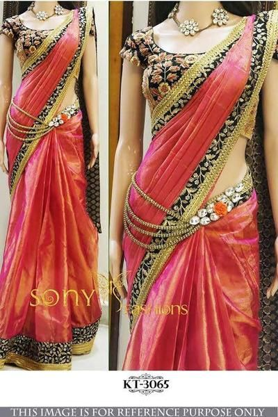 Paper Silk Pink Georgette Bollywood Womens Sarees Online ,Indian Dresses - 1