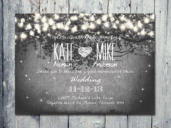 Set of 150 - Romantic Garden and Night Light Wedding Invitation and Reply Card Set - Wedding Stationery - ID210
