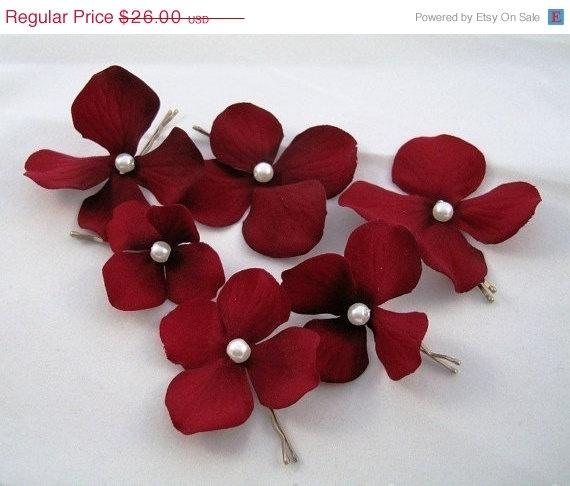 Bridesmaids Set Of 6 Dark Red Burgundy Velvet By OliniFloral 2080