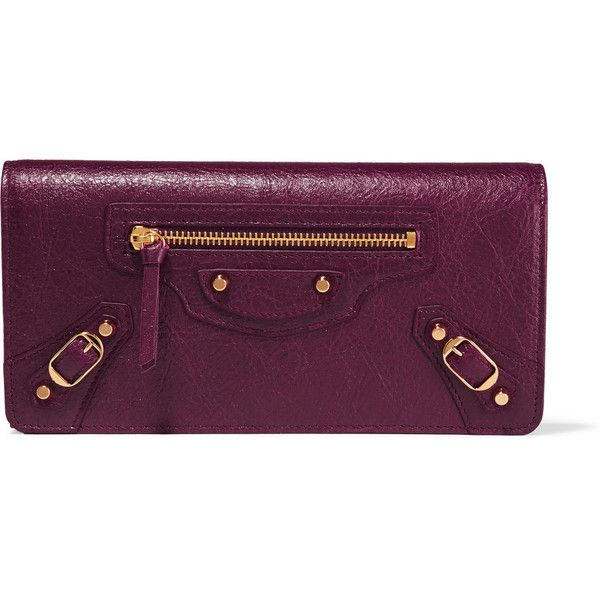 Balenciaga Classic Money studded textured-leather wallet (£385) ❤ liked on Polyvore featuring bags, wallets, burgundy, snap bag, snap wallet, snap closure wallet, balenciaga and balenciaga wallet
