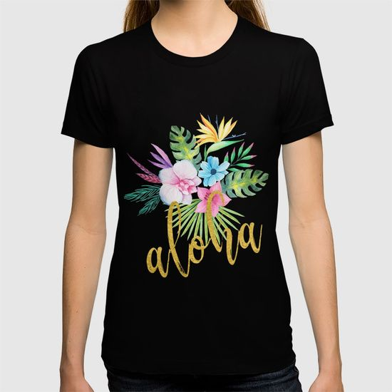 Hawaiian multicolored floral bouquet with faux gold aloha brush script t-shirt by Ankka