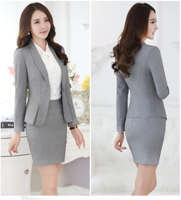 formal black blazer women business suits with skirt and