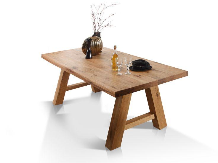 LINDA Massivholztisch Eiche  240 x 100 cm | Edelstahl Jetzt bestellen unter: http://www.woonio.de/p/linda-massivholztisch-eiche-240-x-100-cm-edelstahl/