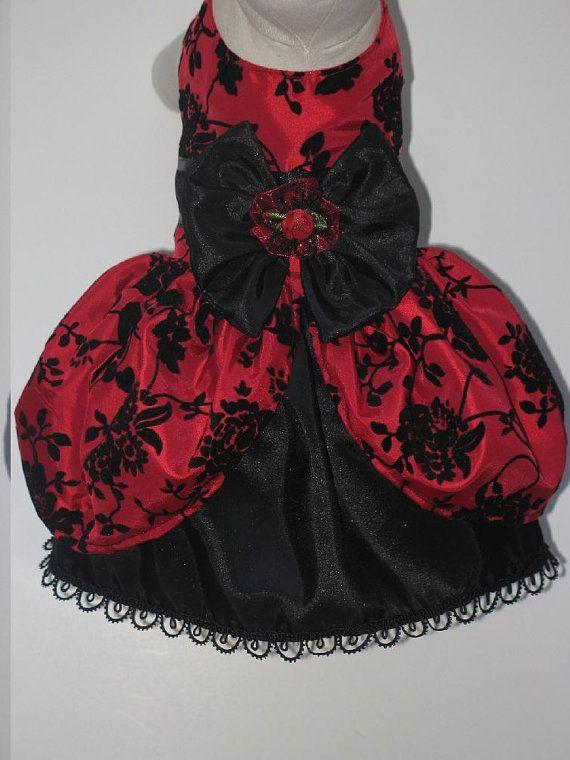 Red Black Flocked Floral Victorian Dog Dress via Etsy