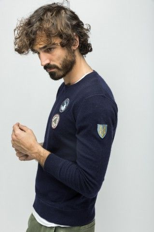 Pull uni avec badges Serge Blanco