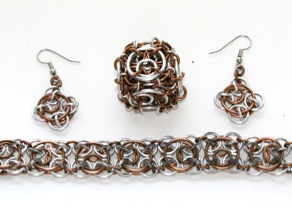 Clockwork Chainmaille Steampunk Jewelry Set by TalespunMaille