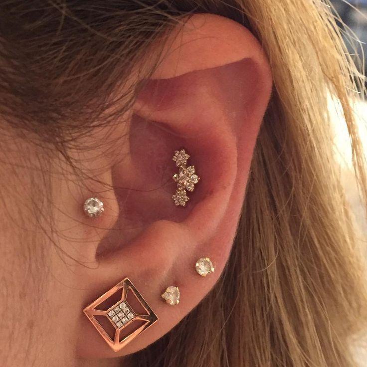 Mother's Day Triple Shiny Star Earlobe 14K Yellow Gold Over Drop Dangle Earrings