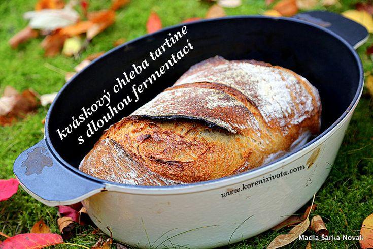 Kváskový chleba tartine s dlouhou fermentací, mateřským těstem, pečený v litinovém hrnci