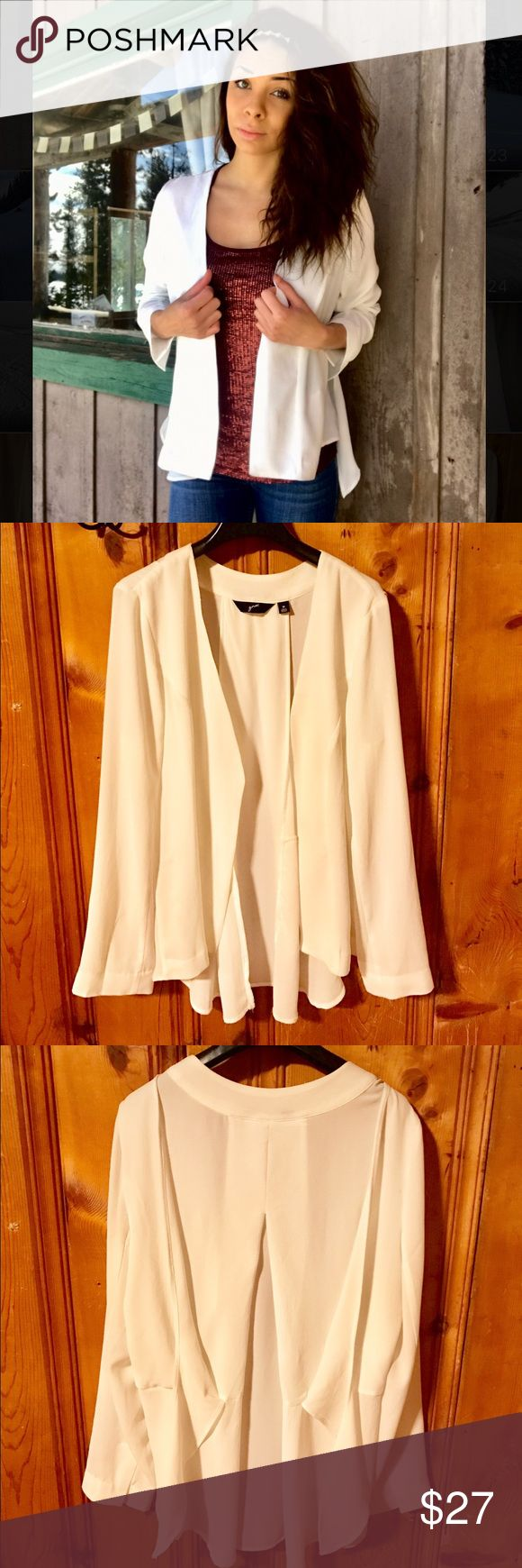 GNW White Flowy Blazer GNW White Blazer. A perfect elegant piece to add to any outfit. This has only been worn one time. Prime condition. Reasonable offers are graciously considered GNW Jackets & Coats Blazers