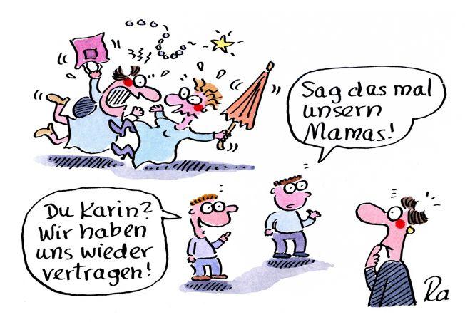 Kindergarten_KiGaPortal_Cartoon_Renate Alf_Mamas streiten