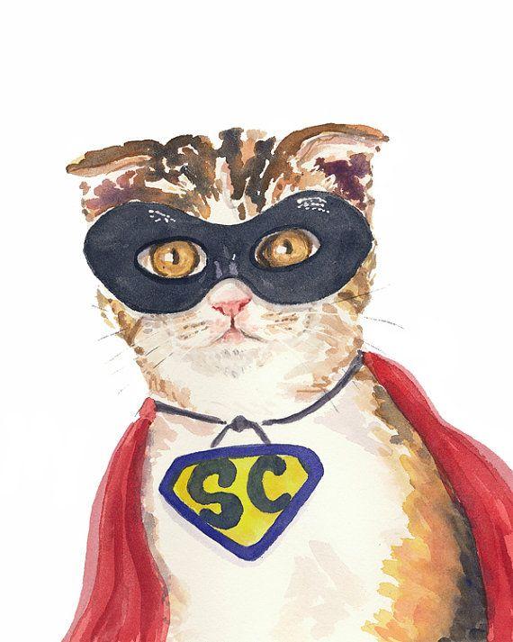 ORIGINAL Cat Watercolor Painting - Nursery Art, Super Hero Cat, Mask, 8x10 Painting, Scottish Fold,