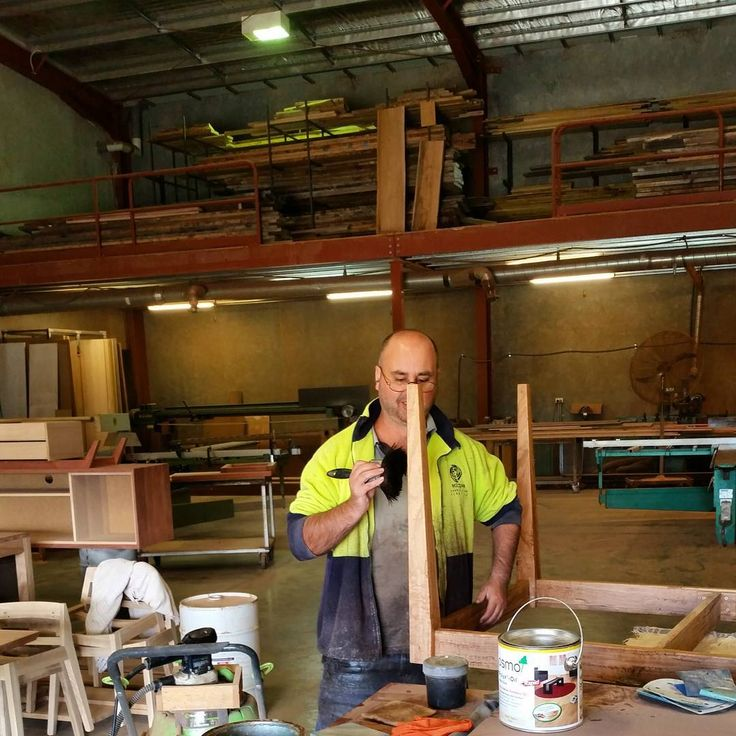 Our finisher Tony working with #Omso #furniture #design #australianmade #handcrafted #diningtable #homedecor #interior #interiordesign #art #salvaged #timber #sustainable #custommade #bespokefurniture #recycledtimber #ecofriendly #reuse #repurpose