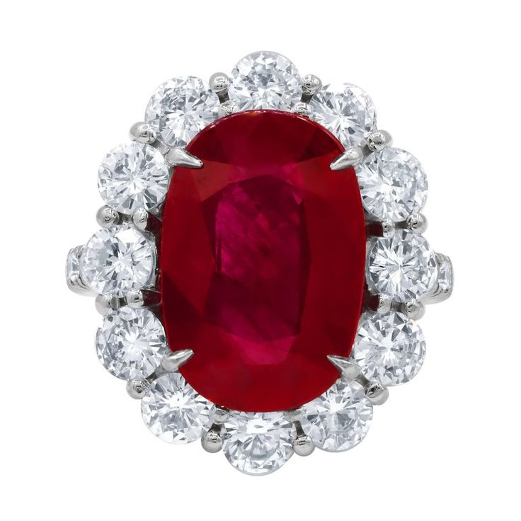 GSR Certified 8.50 Carats Ruby Diamond Ring | From a unique collection of vintage bridal rings at https://www.1stdibs.com/jewelry/rings/bridal-rings/