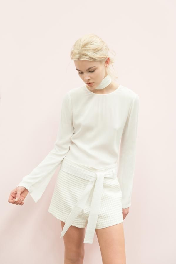 The Monroe Loft Twill Long Sleeve Top and Madison Short by C&M CAMILLA AND MARC