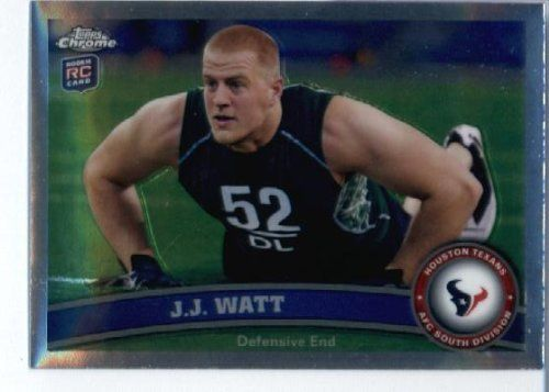 2011 Topps Chrome Football Card #TC104 J.J. Watt RC - Houston Texans (RC - Rookie Card) NFL Trading Card in Protective Screwdown Case! by Topps. $4.95. 2011 Topps Chrome Football Card #TC104 J.J. Watt RC - Houston Texans (RC - Rookie Card) NFL Trading Card in Protective Screwdown Case!