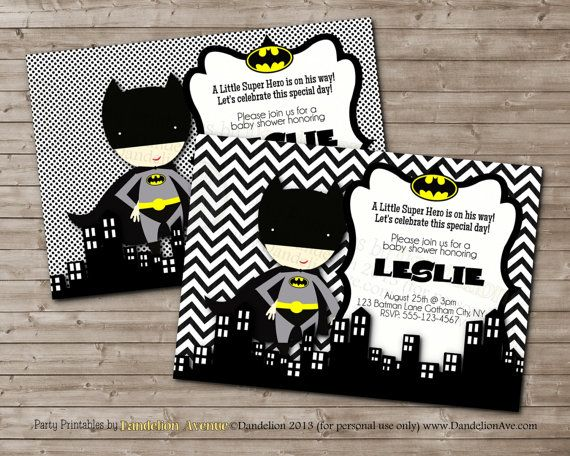 Little Hero BATMAN Printable Baby Shower Party Invitation (But For Bday  Party Instead)