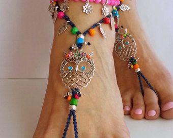 Hippie uil Barefoot sandals Boho sandalen, Hippie enkelbandje haak sandalen zomer sieraden donker blauwe Boheemse sieraden enkel hippie cadeau voor haar