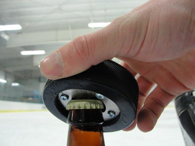 Hockey Puck Bottle Opener   Community Post: 27 Nerdy Gifts Your Dad Will Love On Father's Day