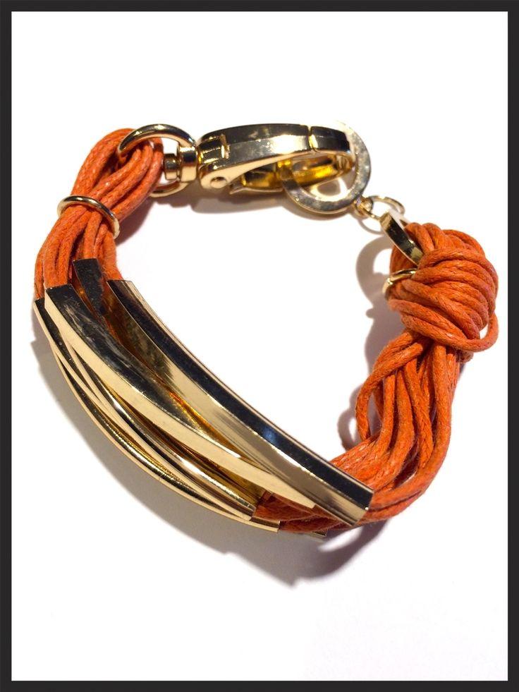Orange Strands and Gold Bar bracelet