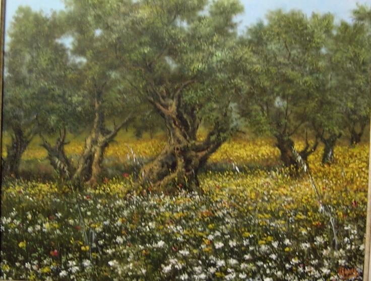 OLIVOS; cuadro pintado al óleo de 61x50 cm.: Carmelo Varona, Painted Table, Oil