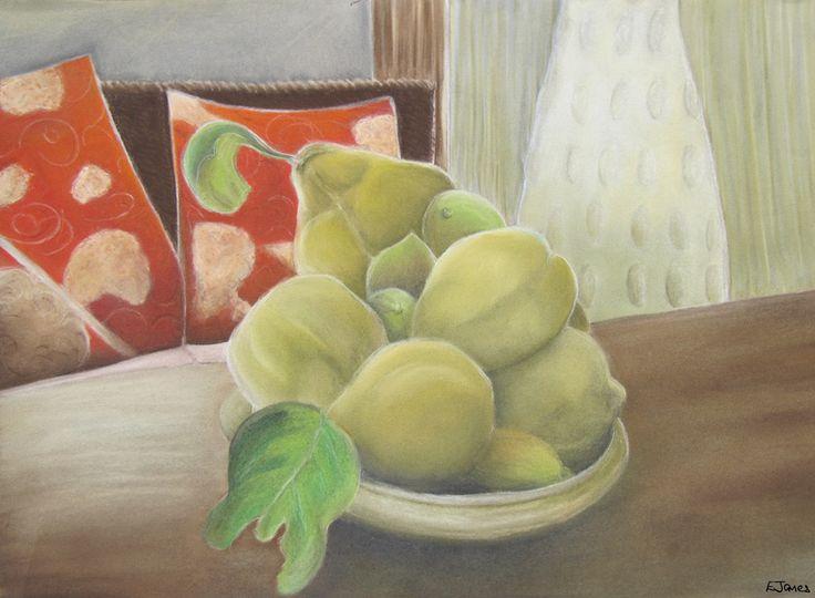 'Fig and Quince' in soft pastel 50x40cm framed by Elizabeth James. Original and fine art prints available via http://www.facebook.com/media/set/?set=a.675692062503221.1073741835.318539891551775&type=3  #fig #quince #pastel #stilllife #fruit #art #fineart #elizabethjames #lotusstar #adelaide