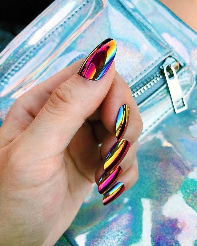 "47.2k Likes, 212 Comments - Lime Crime (@limecrimemakeup) on Instagram: ""#PopOnNails in BLACK MAGIC are the ultimate #oilslick dream!  Get them on limecrime.com. :…"""