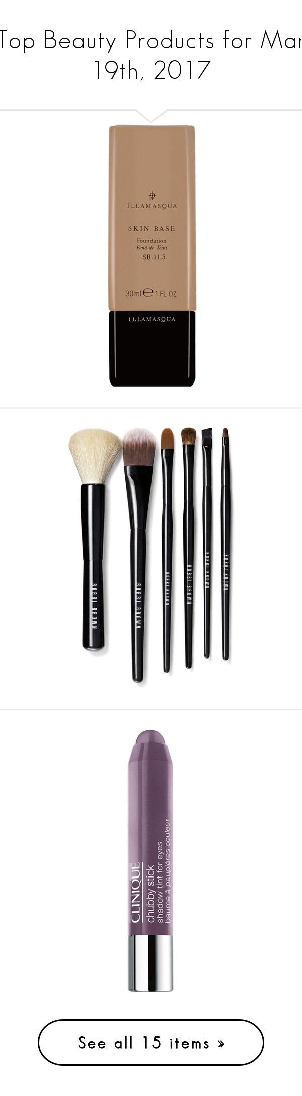"""Top Beauty Products for Mar 19th, 2017"" by polyvore ❤ liked on Polyvore featuring beauty products, makeup, face makeup, foundation, beauty, cosmetics, fillers, illamasqua foundation, illamasqua and makeup tools"