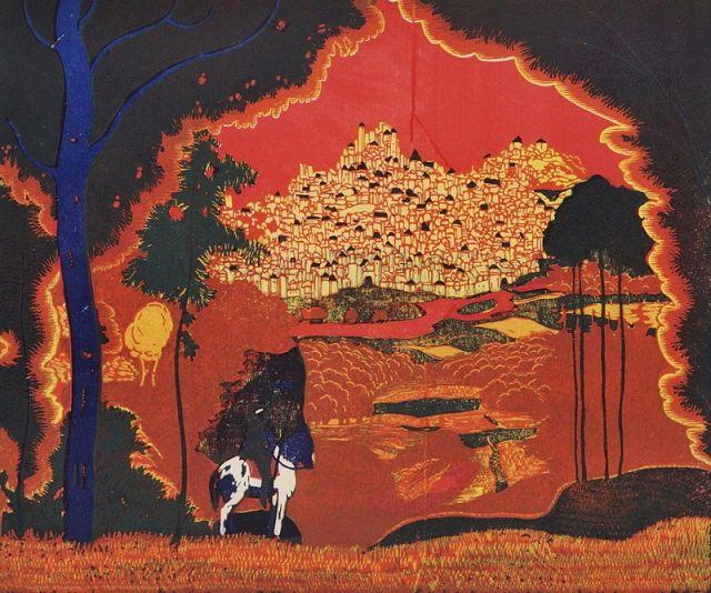 Josef Váchal (Czech, 1884 -1969) - Landscape with rider (City), 1913  Color woodcut, paper, 245 x 295 mm