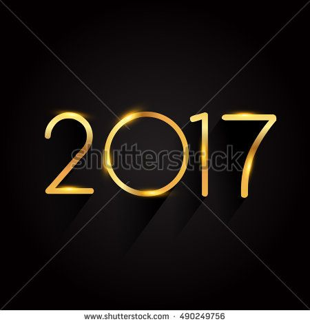 Vector 2017 Happy New Year background, text design golden colored