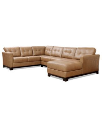 Martino Leather 3-Piece Chaise Sectional Sofa | macys.com