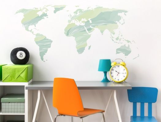 Wandtattoo Weltkarte in grünen Farbtönen