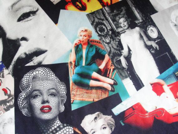 Marilyn Monroe printed Cotton fabric by StarofSupplies on Etsy