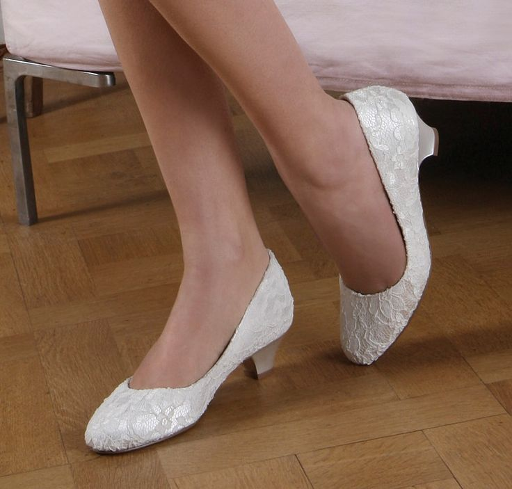 Ivory Lace Wedding Shoes Low Heel