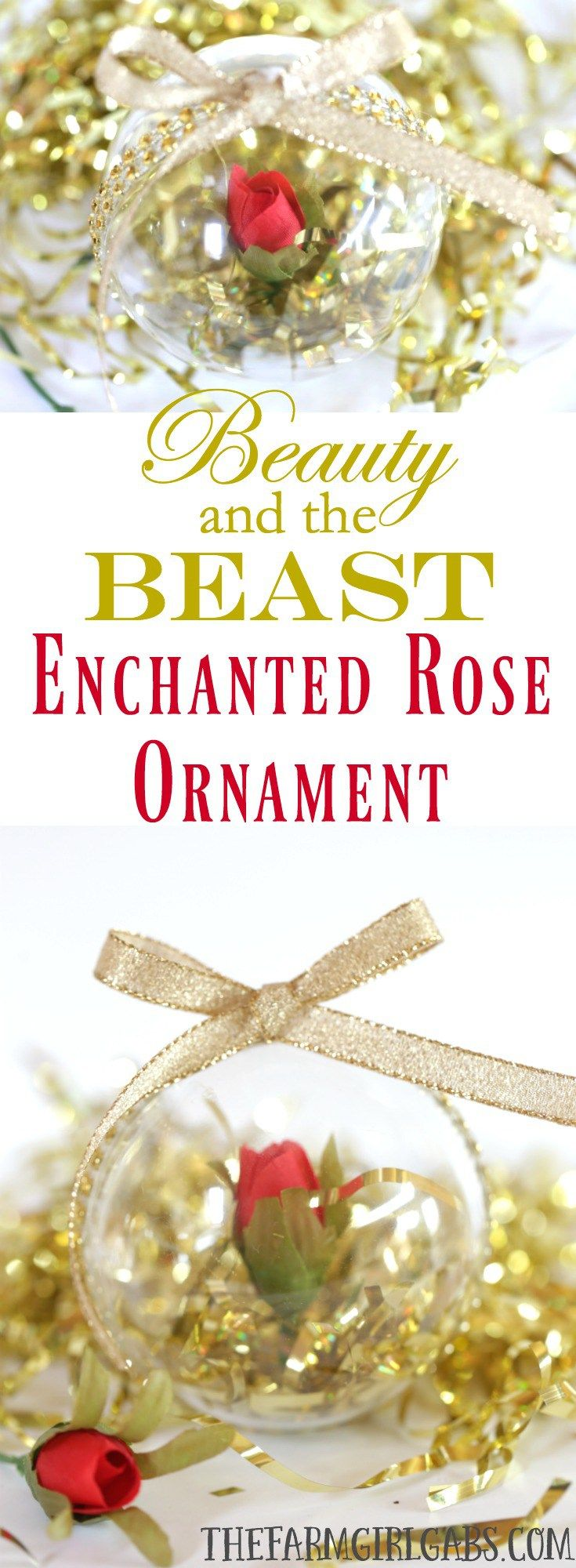 This Simple Diy Beauty And The Beast Enchanted Rose Ornament Is Inspired By  The Upcoming Live Disney Christmas