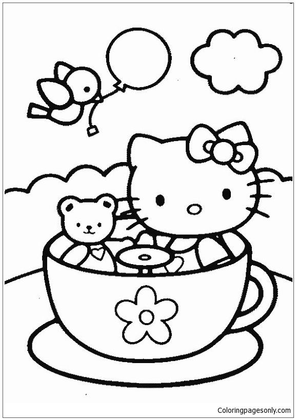 Hello Kitty And Teddy Bear In Tea Cup Coloring Page Free