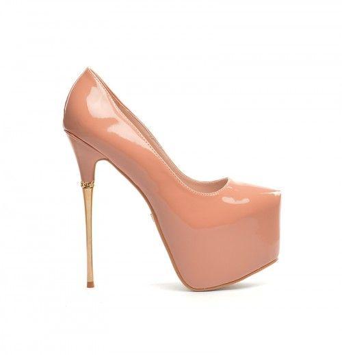 Pantofi Rihanna Nude -  Piele eco lacuita Inaltime toc 16cm  Colectia Incaltaminte de la  www.cadoupentruea.ro