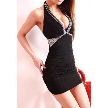 Cheap Wholesale Women's Sexy Low-Cut Halterneck Gather Design Black Club Dress (BLACK,ONE SIZE) At Price 9.80 - DressLily.com