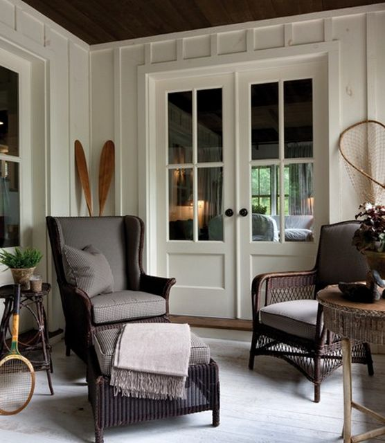Dark Wicker Chairs Board And Batten Walls Twig Tables Porch On Muskoka Cottage Talk Of The