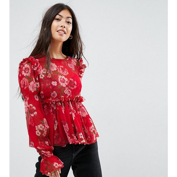 ASOS PETITE Ruffle Smock Blouse in Red Floral (68 AUD) ❤ liked on Polyvore featuring tops, blouses, petite, red, flutter-sleeve top, high-neck tops, petite tops, smock top and asos tops