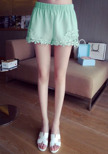 Mint High-Waist Chiffon Shorts