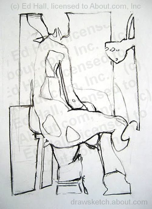 Positive and negative space in figure drawing