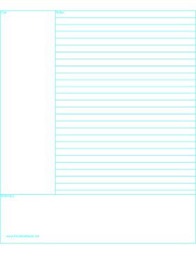 This Cornell Notes paper is lined and additionally formatted with two large blank areas for a summary and a cue (on which to later note and review main ideas, ask questions, or draw diagrams.) Free to download and print
